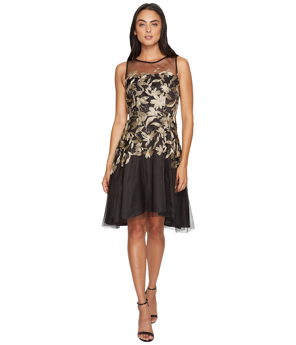 Tahari by ASL - Embroidered Mesh Party Dress (Black/Gold) Women's Dress