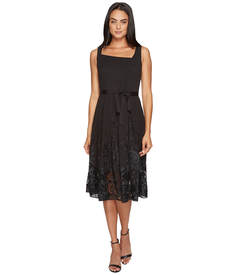 Tahari by ASL - Embroidered Hem Chiffon Dress (Black) Women's Dress