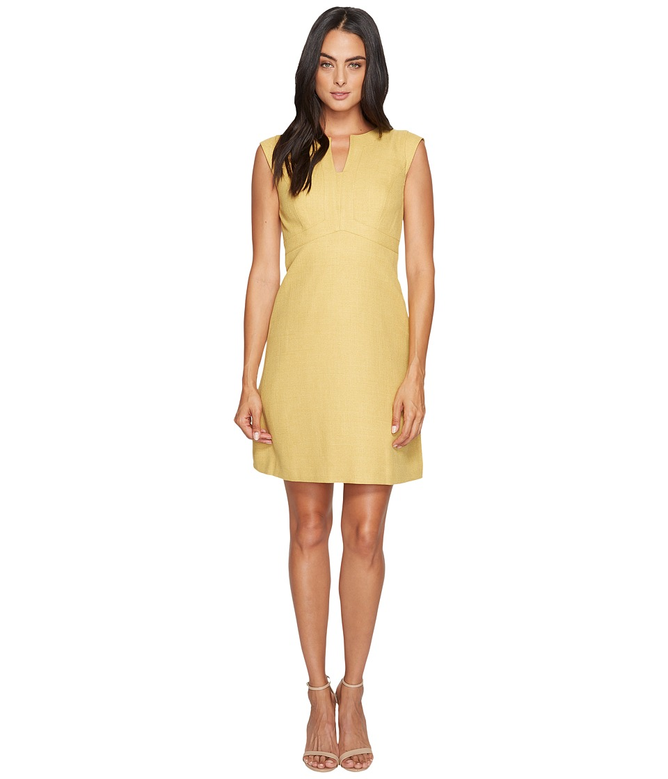 Tahari by ASL - Herringbone A-Line Dress (Marigold) Women's Dress