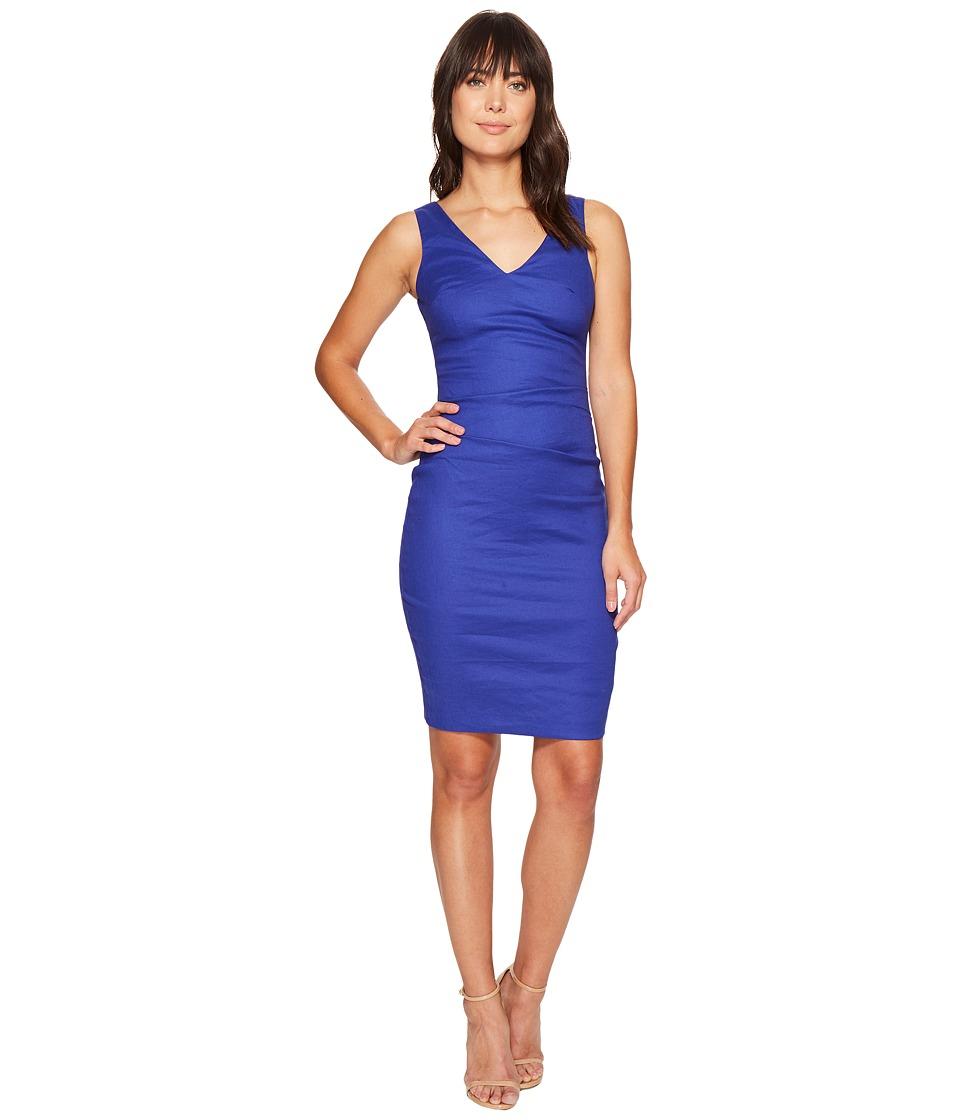 Nicole Miller - V-Neck Side Tuck Stretch Linen Dress (Royal) Women's Dress