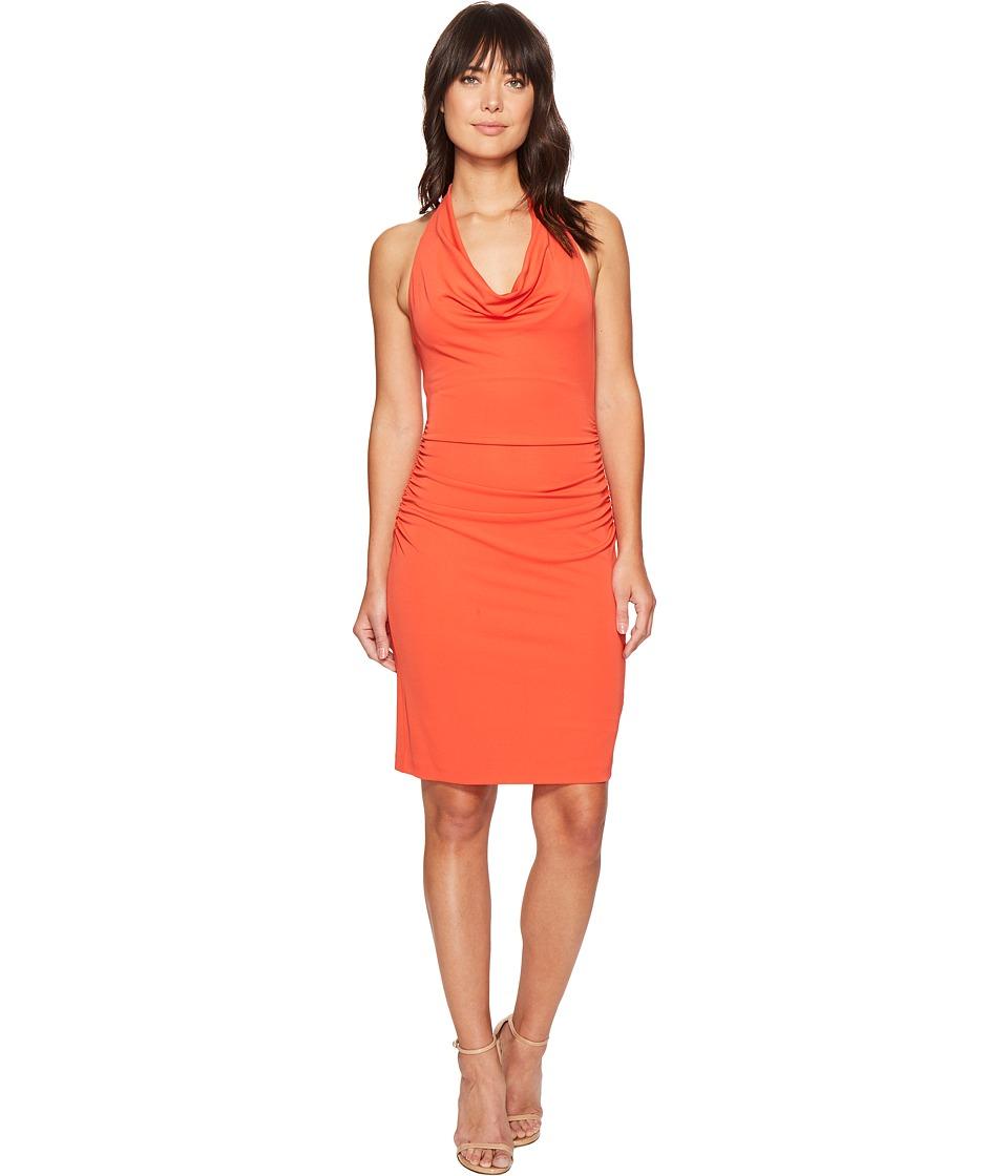 Nicole Miller - Samara Cowl Neck Halter Dress (Coral) Women's Dress