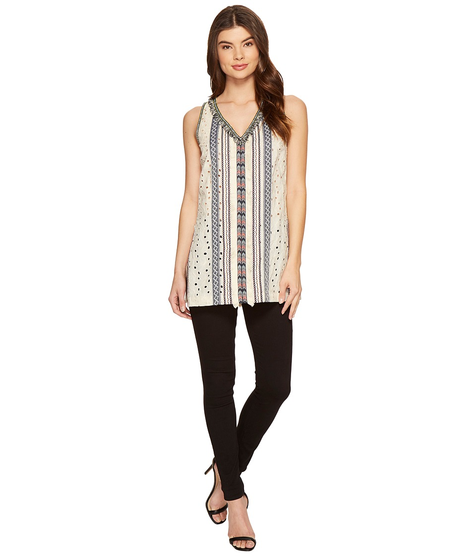 Nicole Miller - Tribal Eyelet Ibiza Tunic Top (Ivory Multi) Women's Blouse