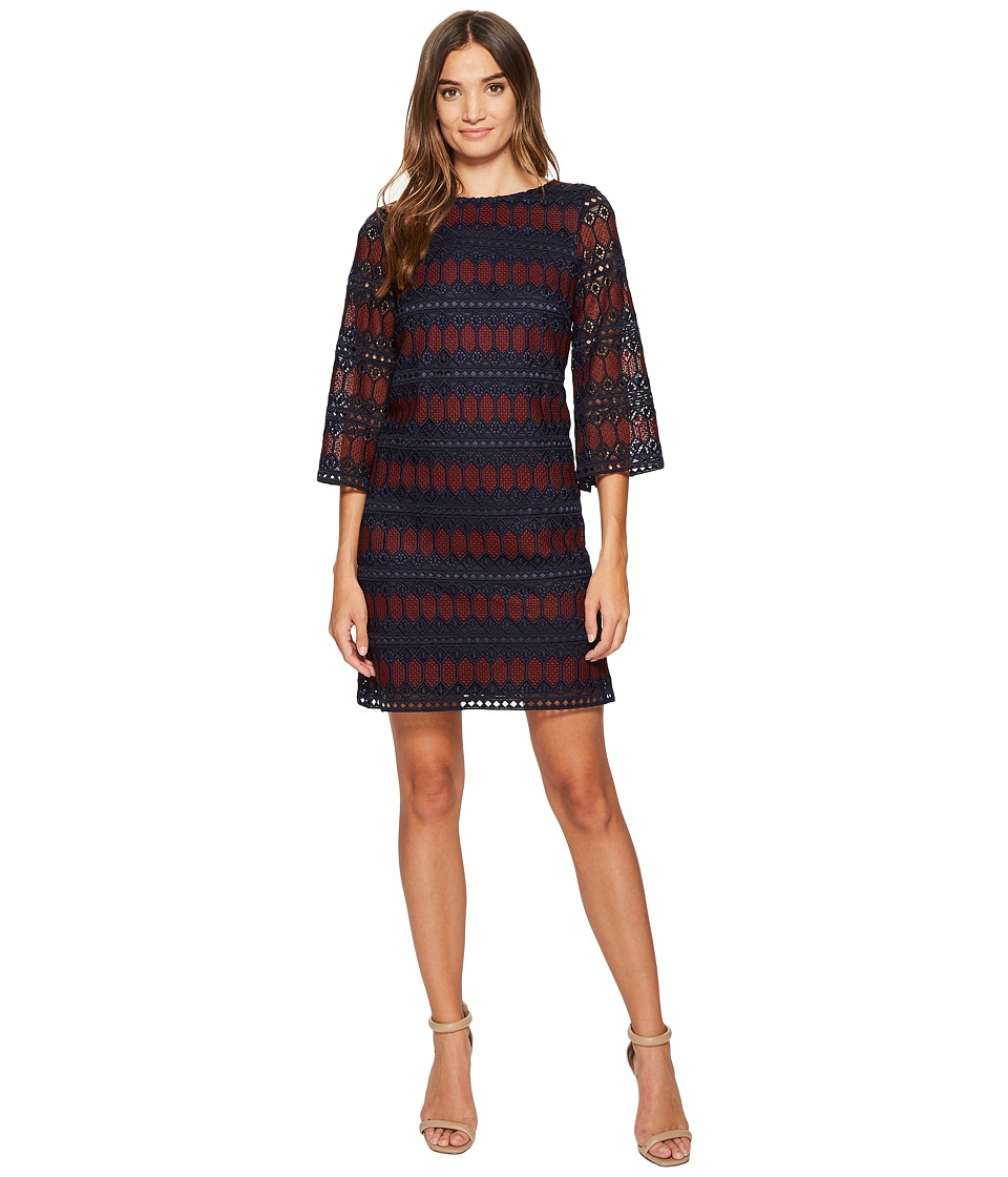 Tahari by ASL - Chemical Lace Printed Sheath (Navy/Merlot) Women's Dress