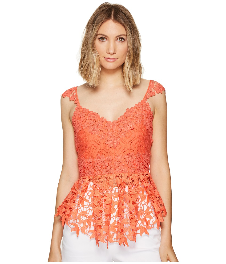 Nicole Miller - Kinsey Crochet Lace Top (Coral Reef) Women's Clothing