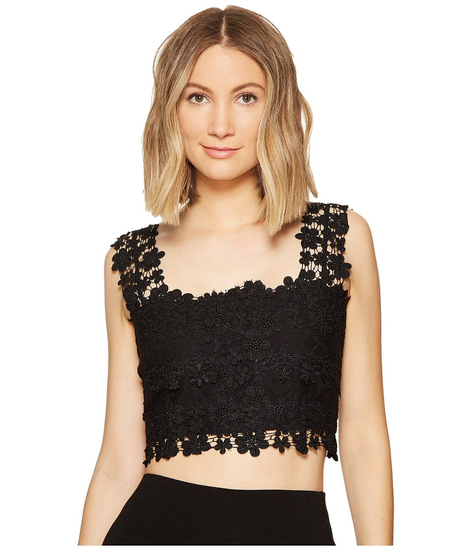 Nicole Miller - Alexa Crochet Lace Crop Top (Black) Women's Clothing