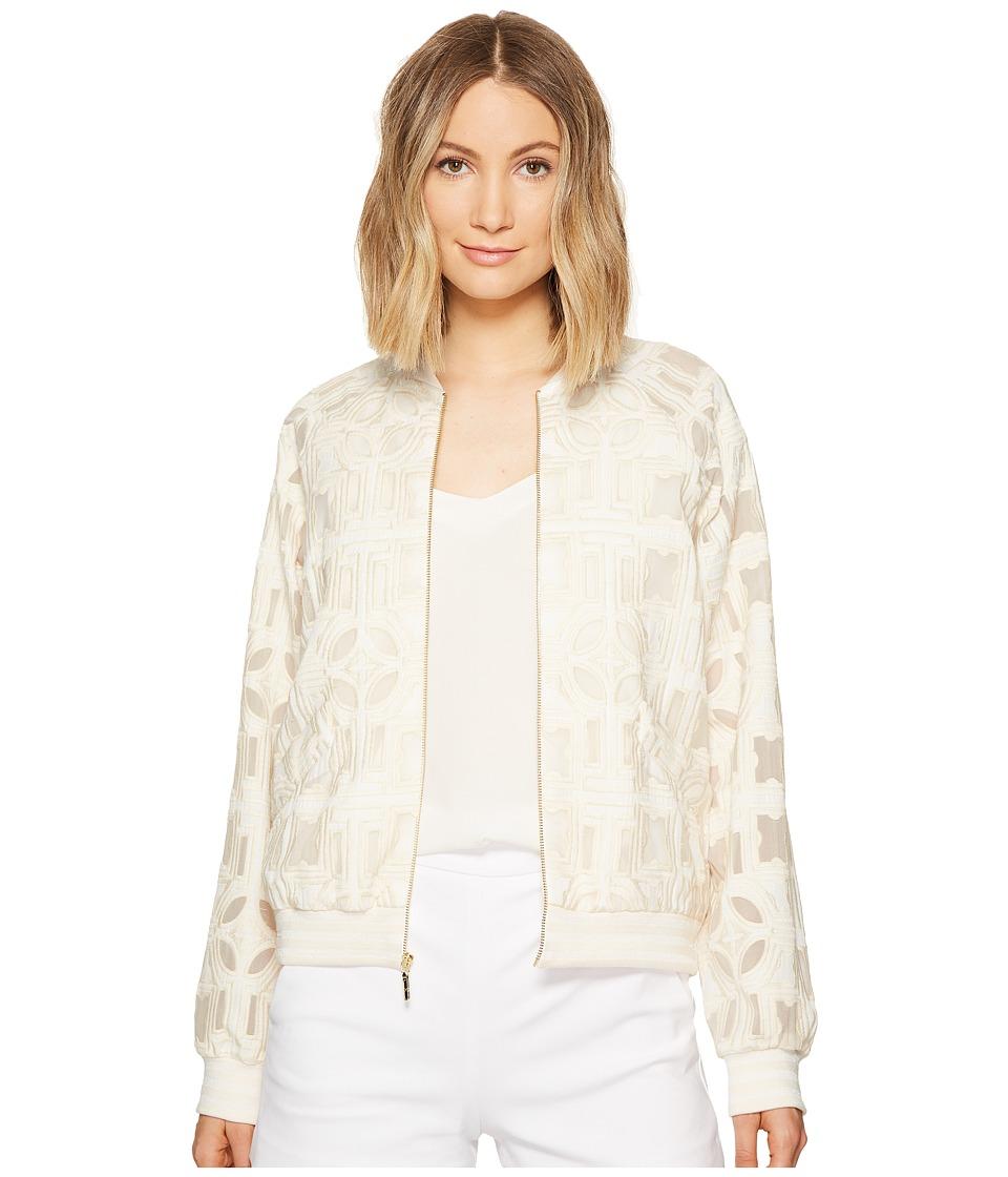 Nicole Miller - Mola Burnout Bomber Jacket (Ivory) Women's Coat