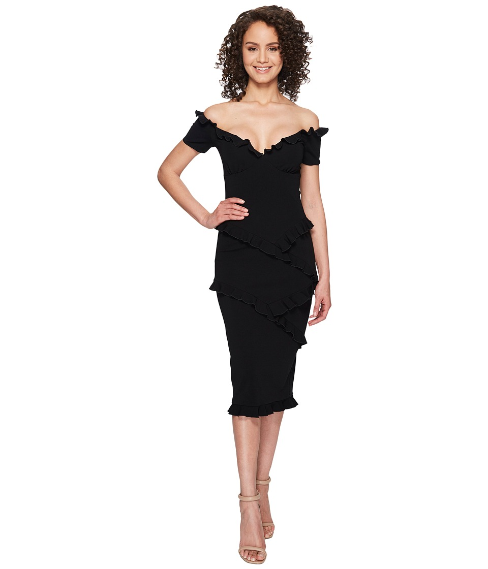 Nicole Miller - Audrey Off the Shoulder Ruffle Party Dress (Black) Women's Dress