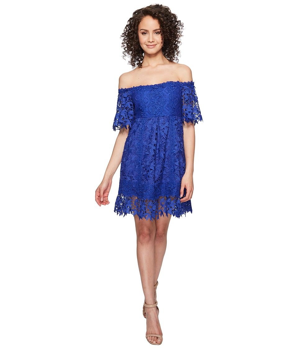 Nicole Miller - Zahra Crochet Lace Off the Shoulder Dress (Blue Oasis) Women's Dress