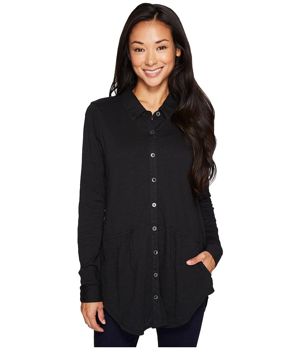 Mod-o-doc Slub Jersey Button Front Pocket Shirt (Black) Women
