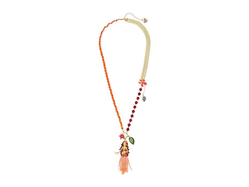 Betsey Johnson - Tropical Hula Girl Pendant Long Necklace (Multi) Necklace