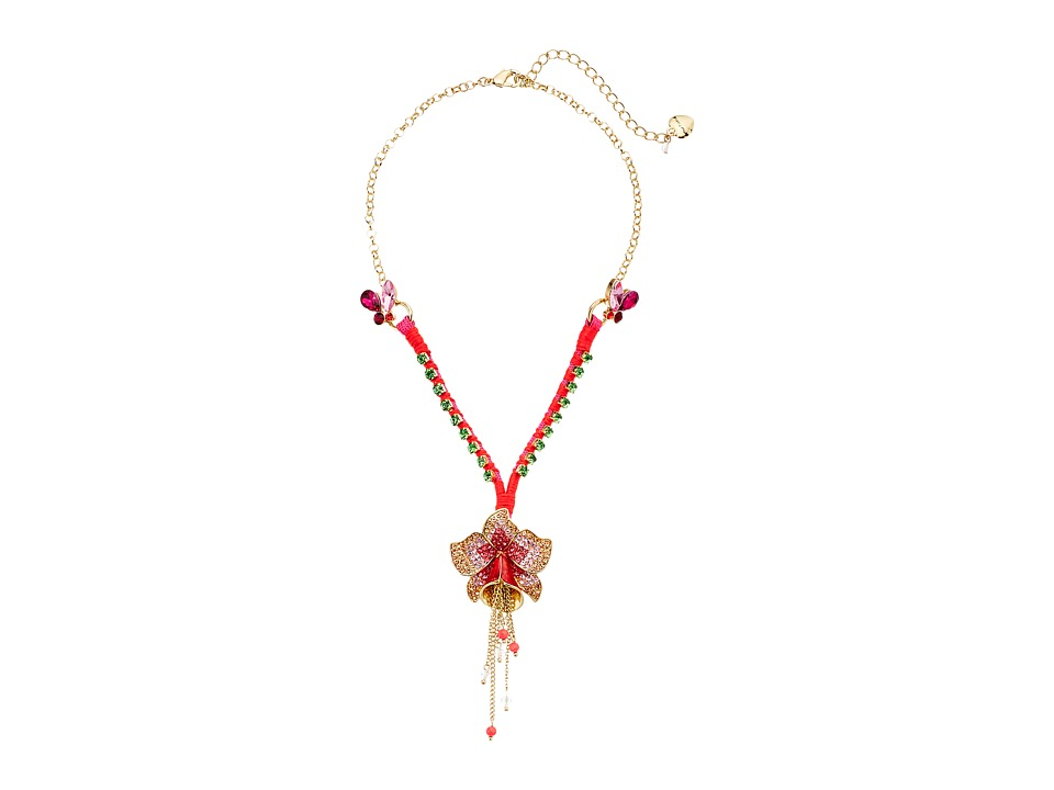 Betsey Johnson - Tropical Pave Flower Y-Shaped Necklace (Multi) Necklace