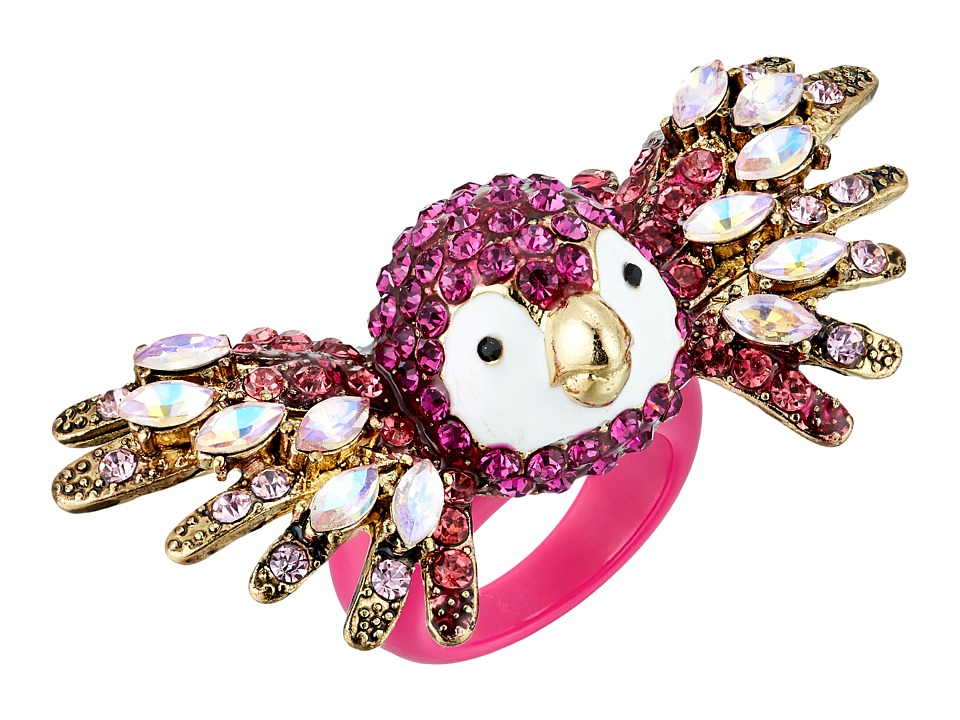 Betsey Johnson - Tropical Pave Parrot Ring (Fuchsia) Ring