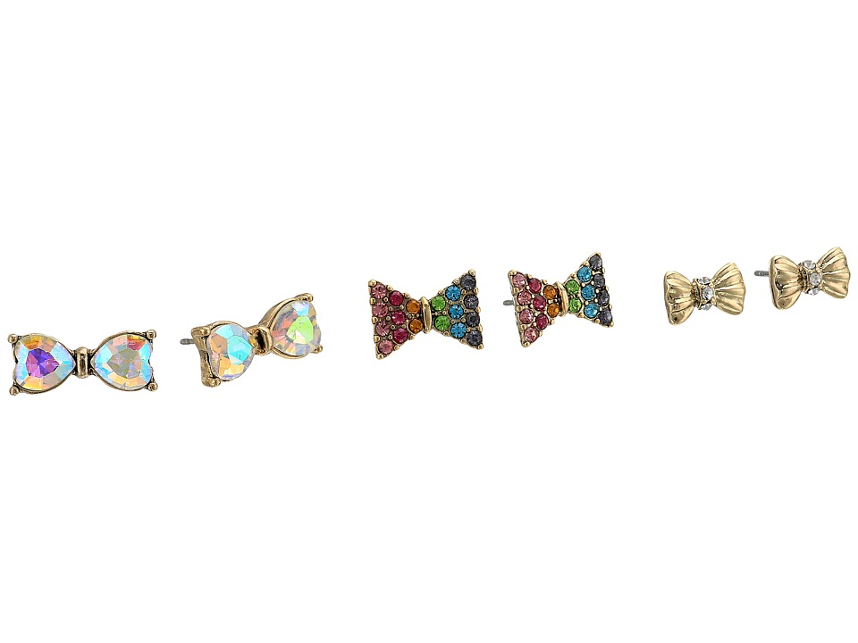 Betsey Johnson - Pave Rainbow Bow Stud Earrings (Multi) Earring