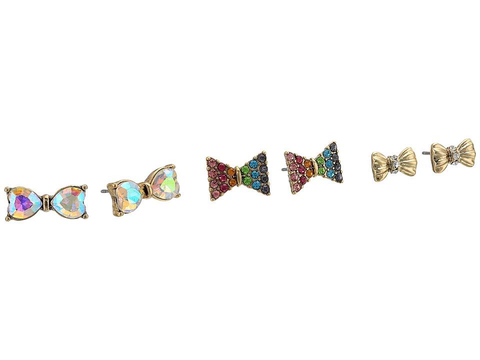 Betsey Johnson - Pave Rainbow Bow Stud Earrings (Multi) Earring