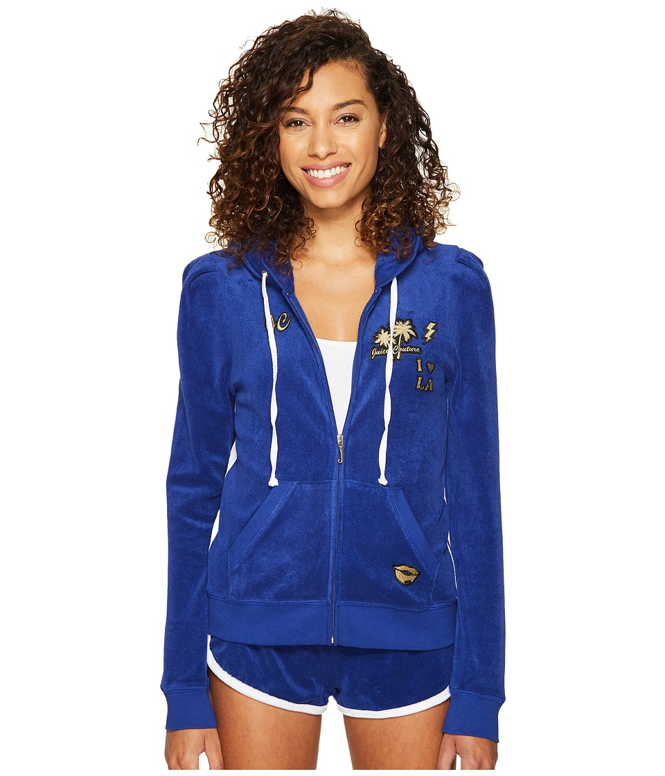 Juicy Couture - Venice Beach Patches Microterry Puff Sleeve Jacket (Blue Blaze) Women's Coat