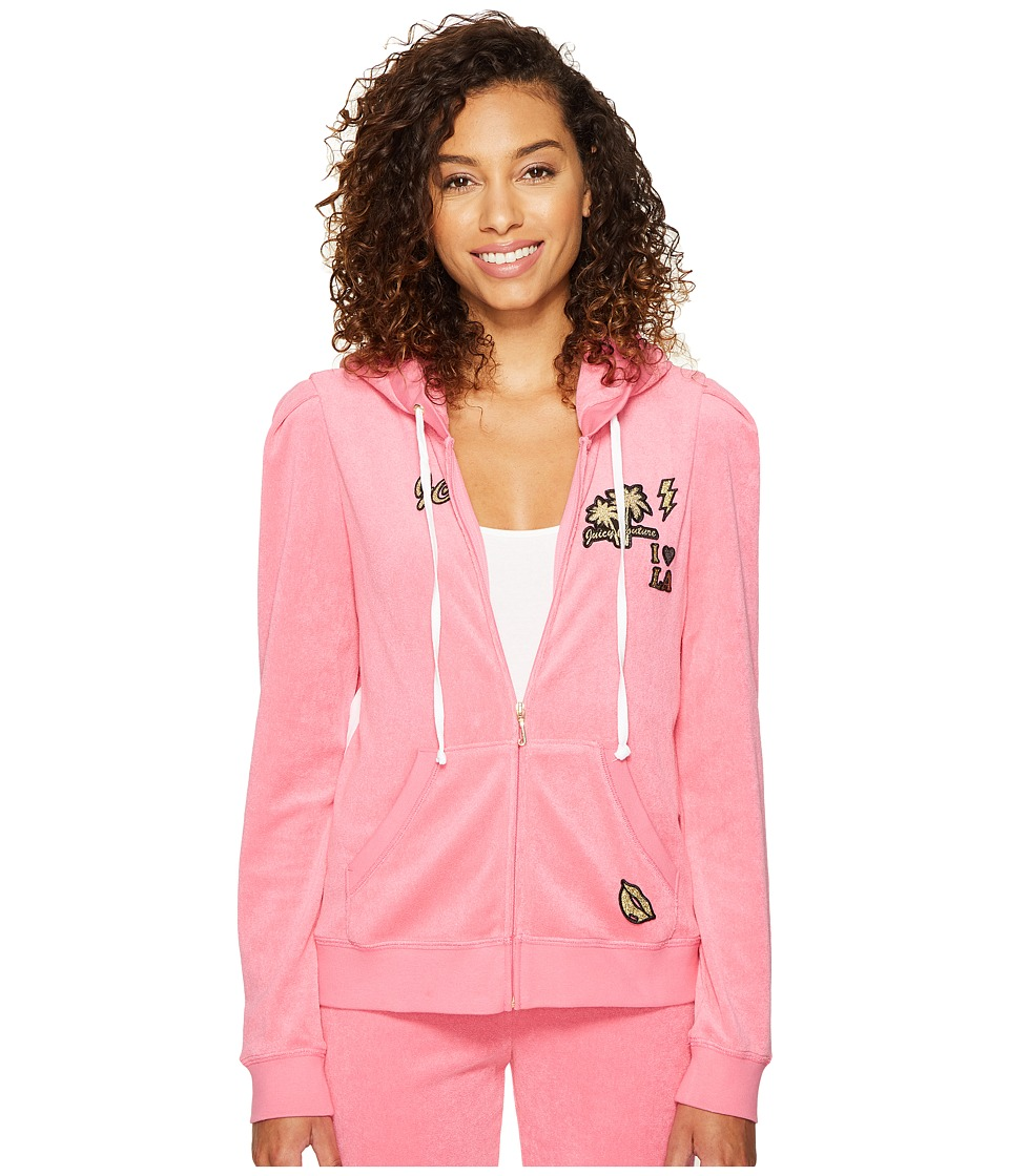 Juicy Couture - Venice Beach Patches Microterry Puff Sleeve Jacket (Precocious Pink) Women's Coat