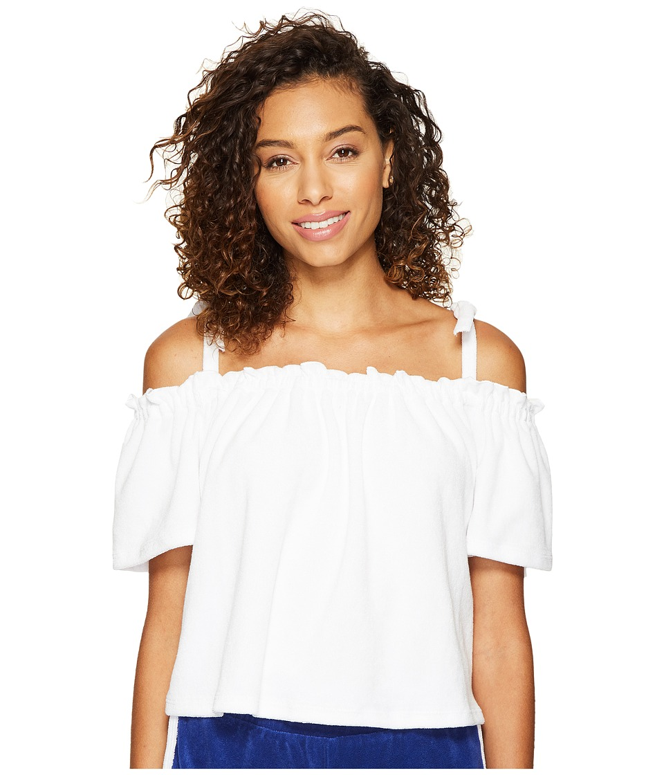 Juicy Couture - Venice Beach Microterry Off the Shoulder Top (White) Women's T Shirt