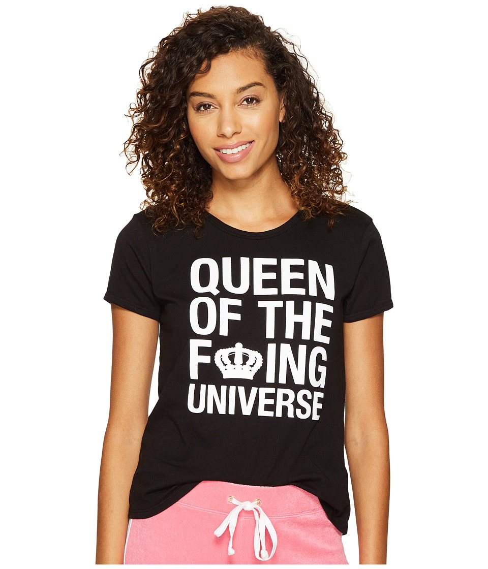 Juicy Couture - Queen of the Universe Short Sleeve Tee (Pitch Black) Women's T Shirt