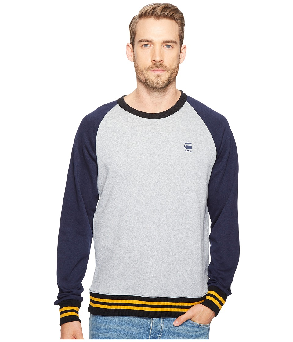 G-Star - Malizo R SW Long Sleeve (Grey Heather/Sartho Blue) Men's Long Sleeve Pullover