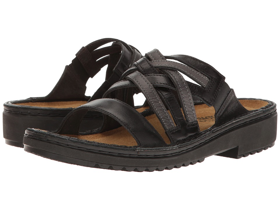 Naot Footwear - Ingrid (Black Ice Leather/Metallic Road Leather) Women's Sandals