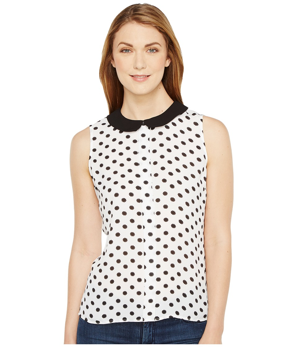 CeCe - Sleeveless Equator Dot Peter Pan Collar Blouse (Ultra White) Women's Blouse