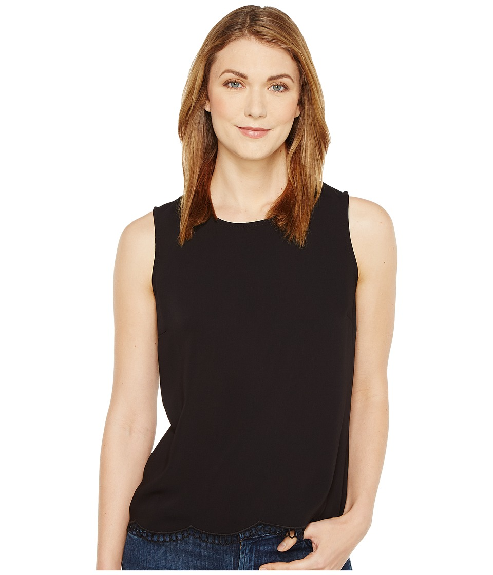 CeCe - Sleeveless Soft Crepe Scallop Embroidery Shell (Rich Black) Women's Sleeveless