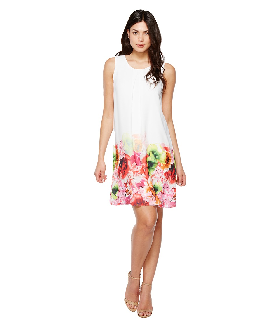 CeCe - Floral Tropics Border Invert Pleat Shift (Azalea Bloom) Women's Dress