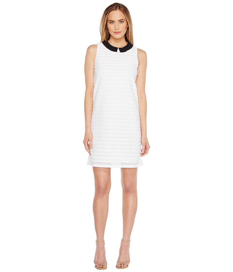CeCe Sleeveless Wavy Stripe Knit Collared Swing Dress (Ultra White) Women