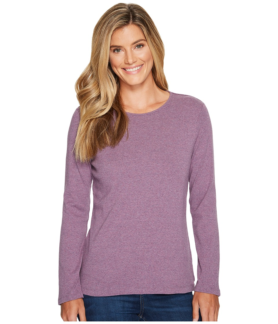 Pendleton - L/S Jewel Neck Cotton Rib Tee (Grey Violet Heather) Women's Long Sleeve Pullover