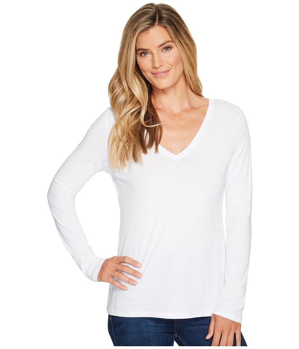 Pendleton - Long Sleeve V-Neck Tee (White) Women's Clothing