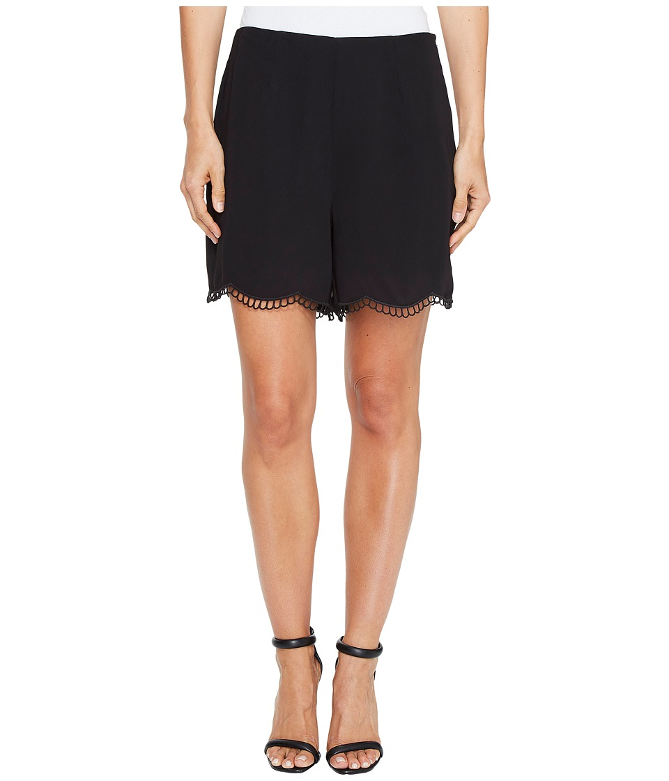 CeCe - Soft Crepe Scallop Embroidery Shorts (Rich Black) Women's Shorts