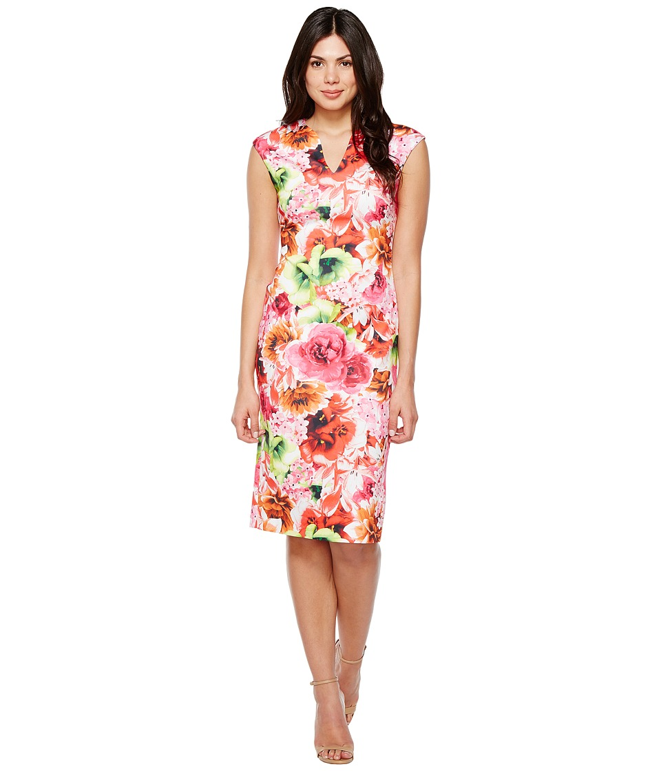 CeCe - Floral Tropic Slitneck Scuba Sheath Dress (Azalea Bloom) Women's Dress