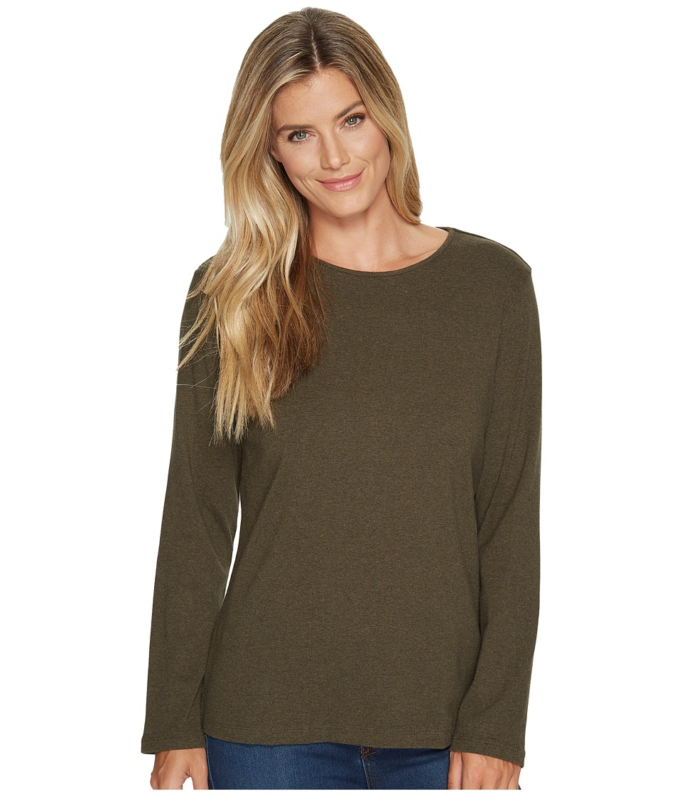 Pendleton - L/S Jewel Neck Cotton Rib Tee (Forest Night Heather) Women's Long Sleeve Pullover