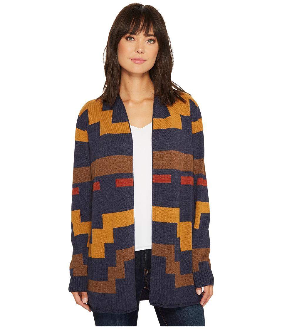 Pendleton - Imnaha Cardigan (Indigo/Brown Multi) Women's Sweater