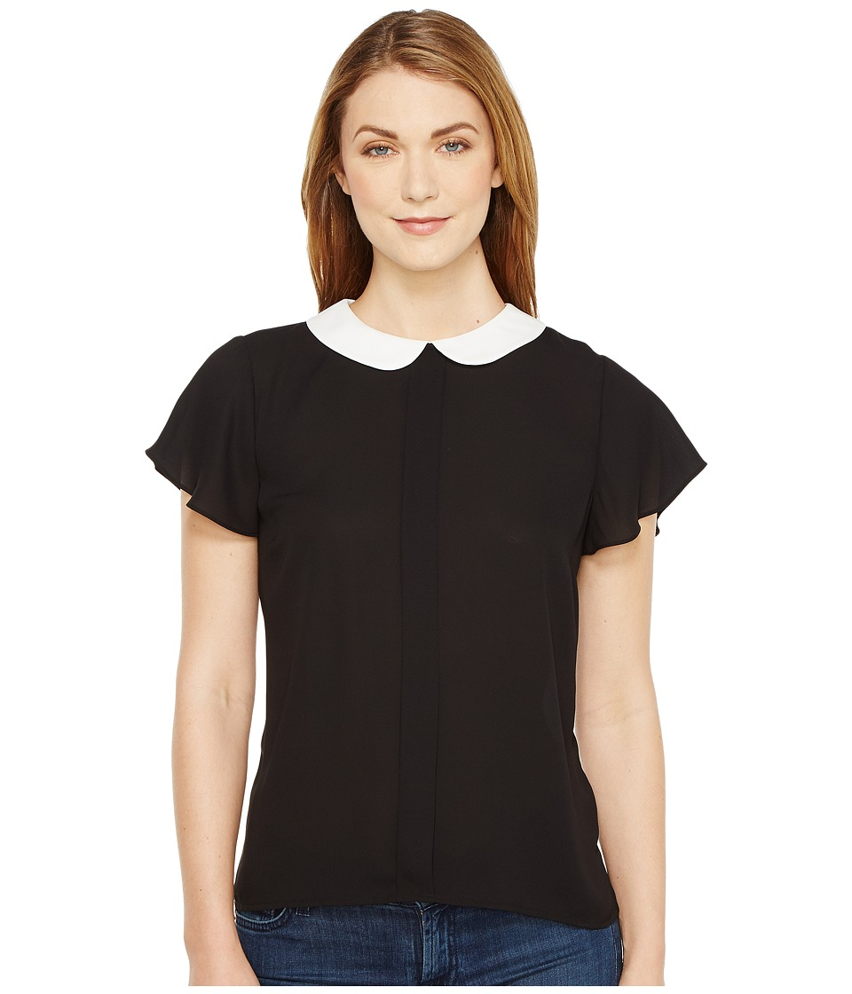 CeCe - Short Sleeve Contrast Peter Pan Collar Blouse (Rich Black) Women's Blouse