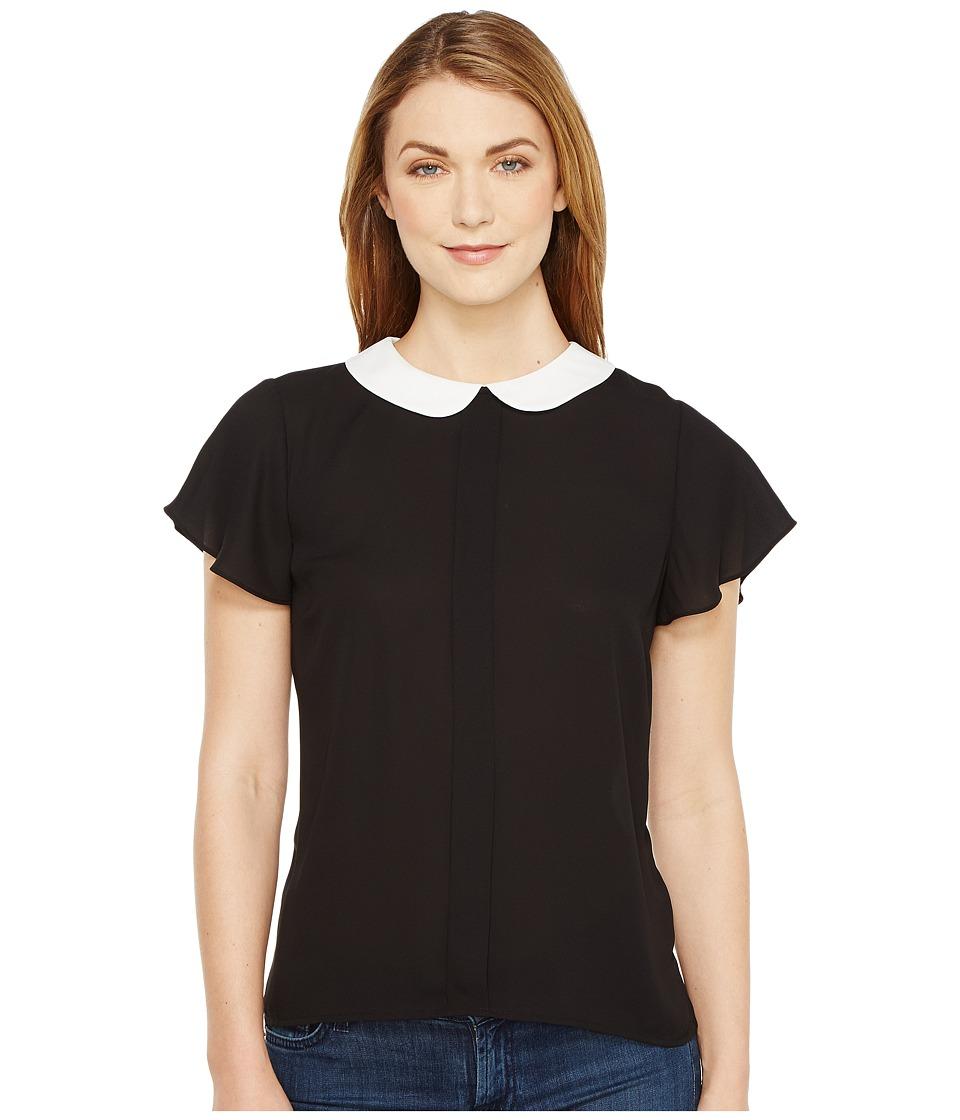 CeCe - Short Sleeve Contrast Peter Pan Collar Blouse (Rich Black) Women's Blouse