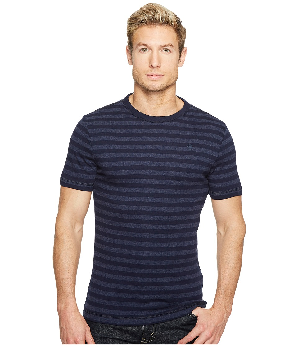 G-Star - Kantano Slim R T Short Sleeve Cool Rib Small Premere Stripe (Sartho Blue/Sartho Blue Heather) Men's Short Sleeve Pullover