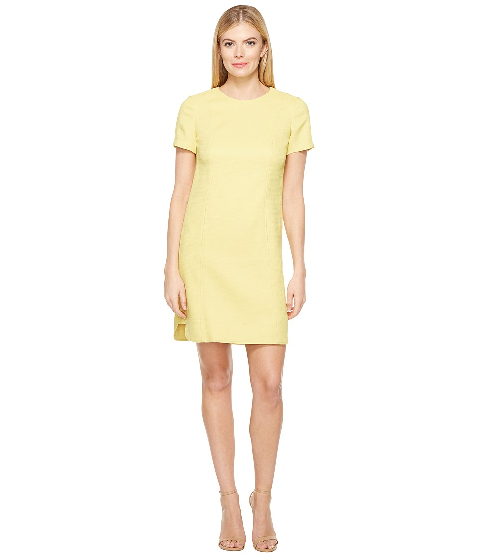 Tahari by ASL - Short Sleeve Grasscloth Shift w/ Shirttail Hem (Citrine Green) Women's Dress