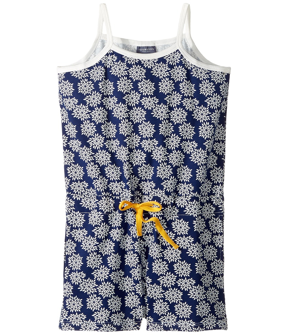 Toobydoo - Flower Beach Romper (Toddler/Little Kids/Big Kids) (Navy/White/Yellow) Girl's Jumpsuit & Rompers One Piece