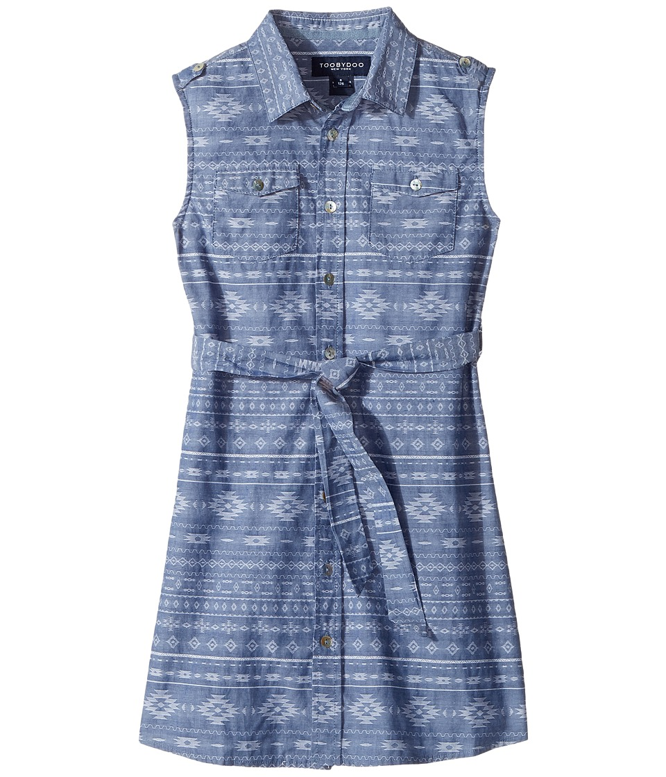 Toobydoo - Tribal Chambray Belted Dress (Toddler/Little Kids/Big Kids) (Chambray) Girl's Dress