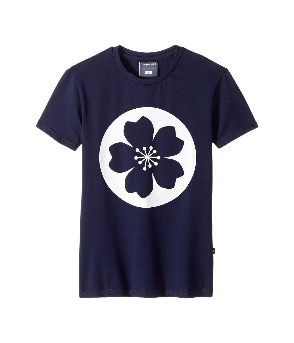 Toobydoo - Hawaiian Flower Tee (Toddler/Little Kids/Big Kids) (Navy/White) Girl's T Shirt