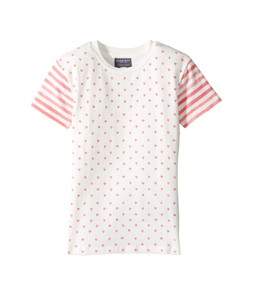 Toobydoo - Hearts and Stripes Tee (Toddler/Little Kids/Big Kids) (Pink/White) Girl's T Shirt