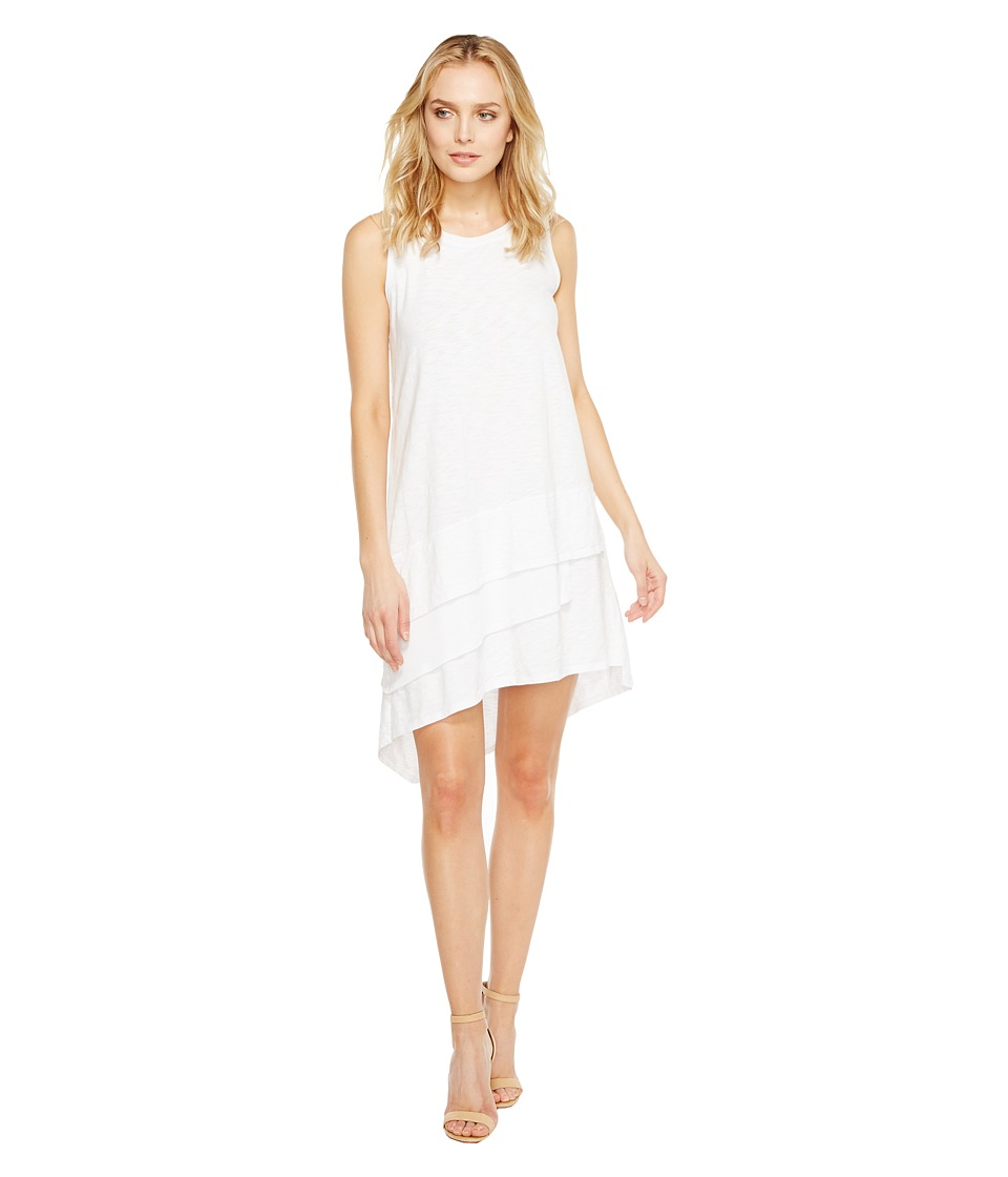 Dylan by True Grit - Luxe Cotton Slub 3 Tier Tank Dress (White Tee) Women's Dress