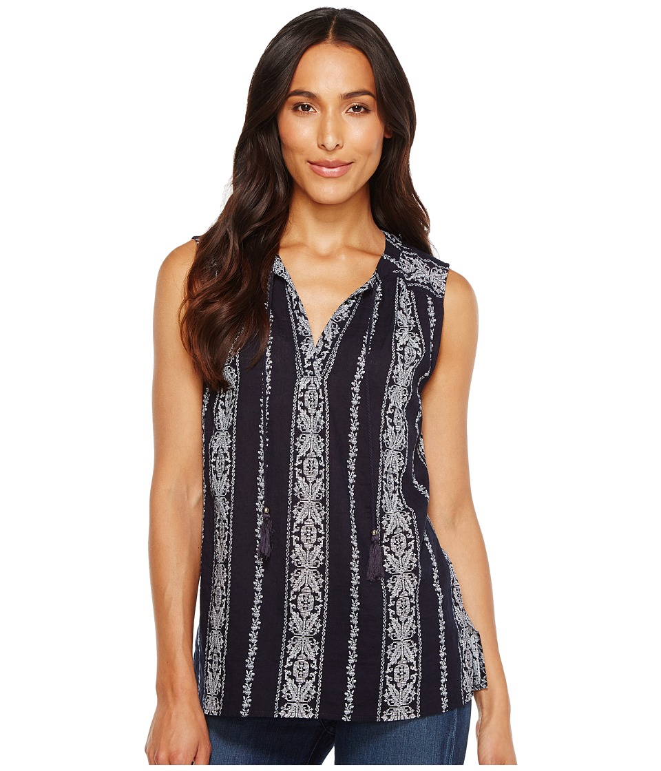 Dylan by True Grit - Vintage Vines Sleeveless Washed Tunic (Indigo/White) Women's Blouse