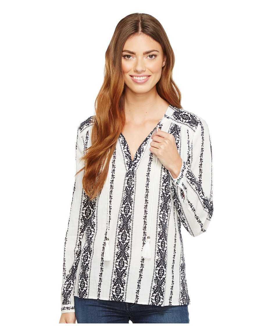 Dylan by True Grit - Vintage Vines Long Sleeve Washed Tunic (White/Indigo) Women's Blouse