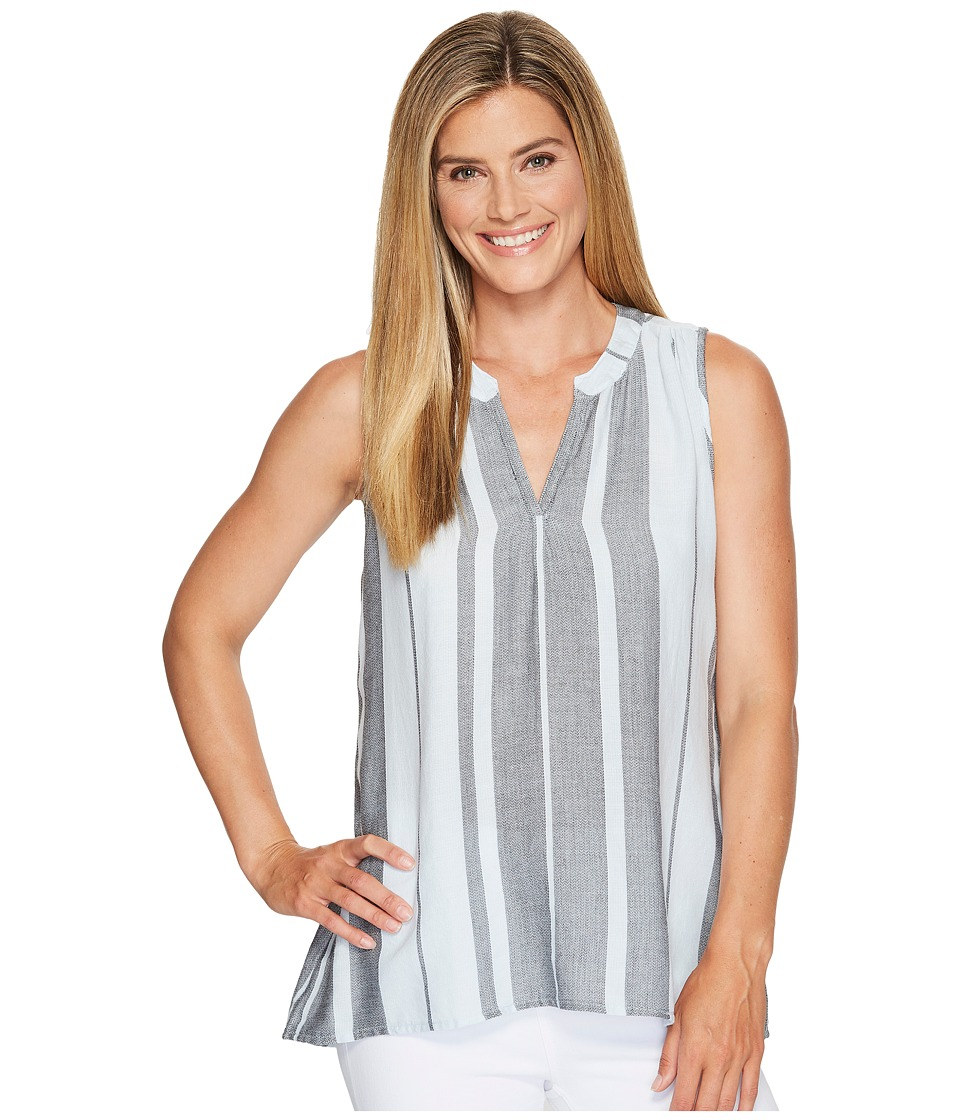Dylan by True Grit - Taylor Texture Centered Stripe Sleeveless High-Low Tunic (Sky) Women's Sleeveless