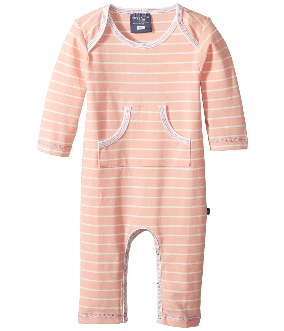 Toobydoo - Peach Party Slim-Leg Jumpsuit (Infant) (Peach/White) Girl's Jumpsuit & Rompers One Piece