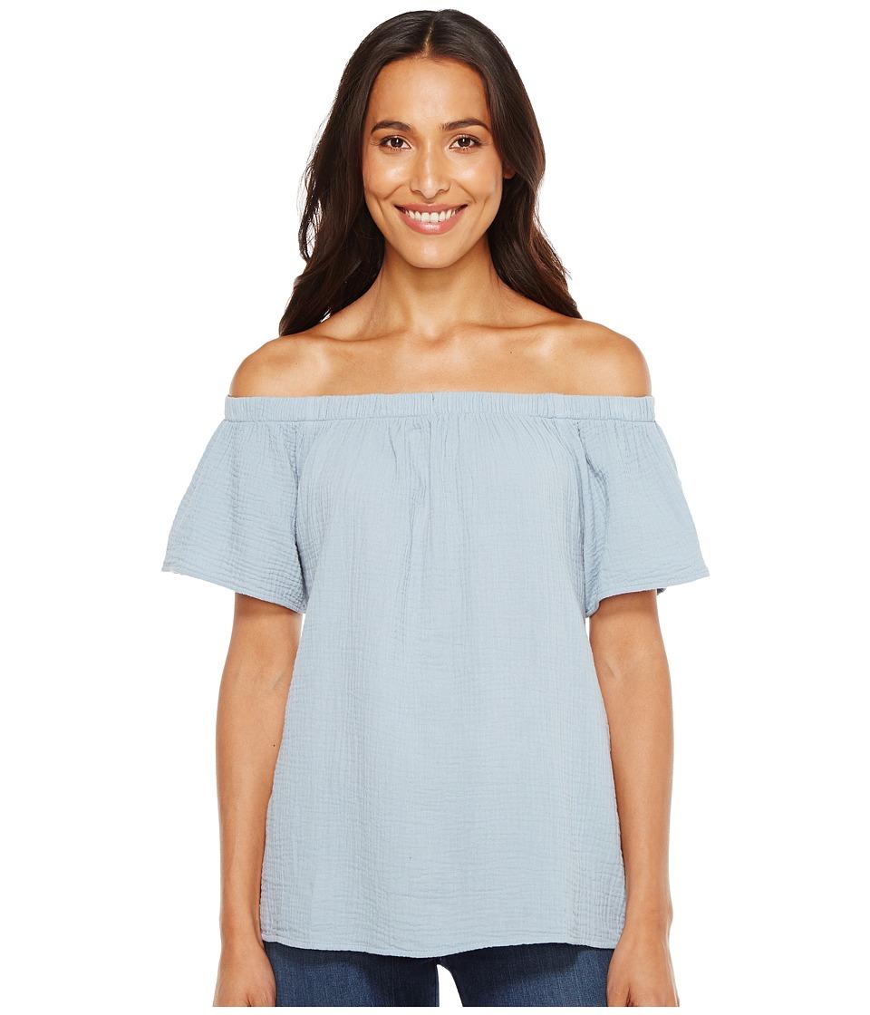 Dylan by True Grit - Raglan Off Shoulder Top (Denim Blue) Women's Short Sleeve Pullover