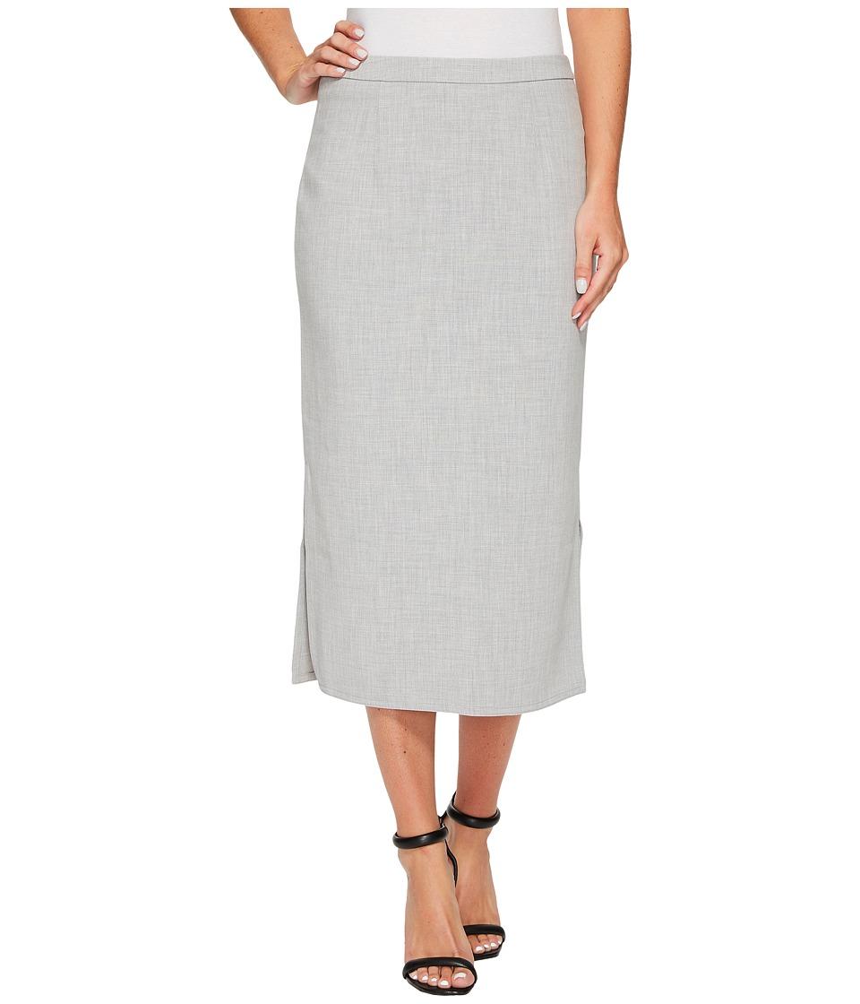 Ellen Tracy Pencil Skirt with Side Slits (Slate Gray Heather) Women