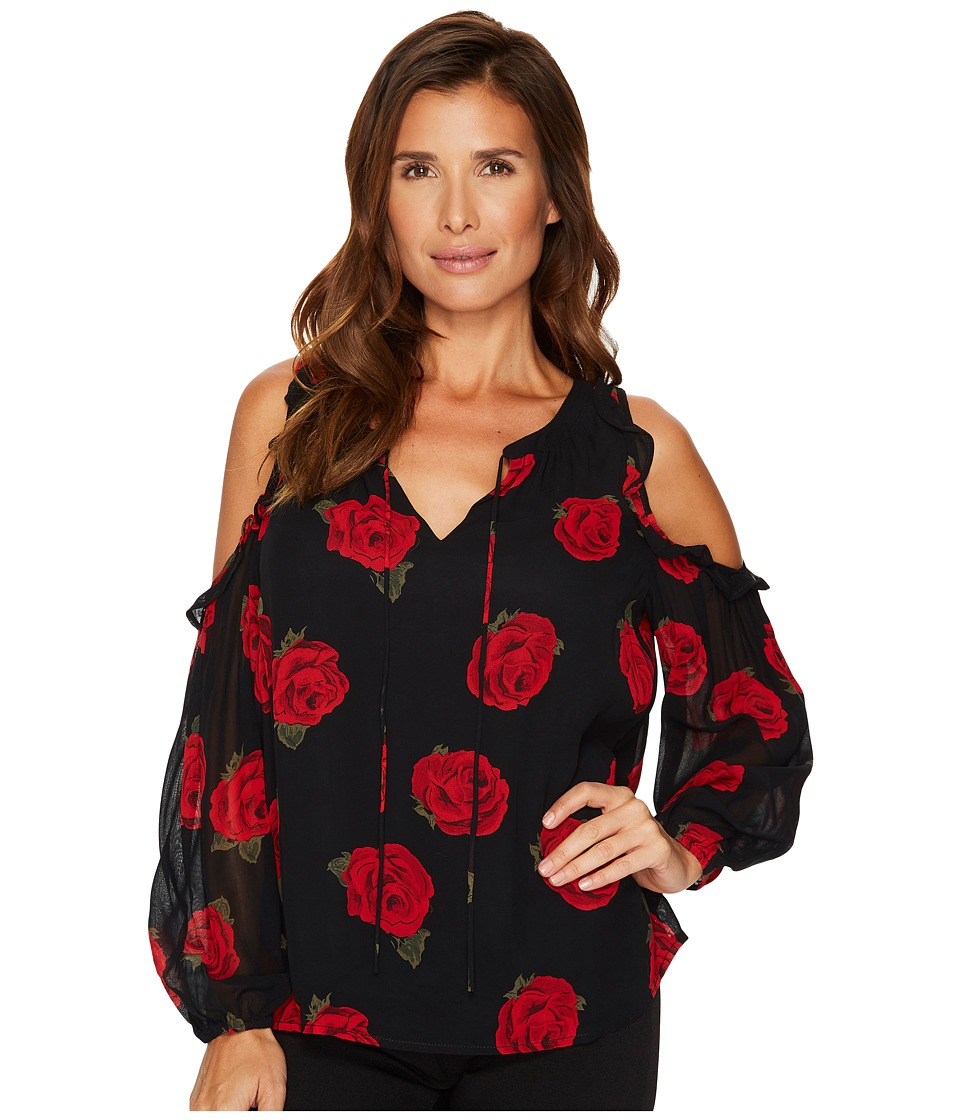 Sanctuary Blaire Bare Shoulder Top (Paris Roses Black) Women